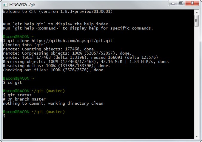 how to run git on command prompt windows 10